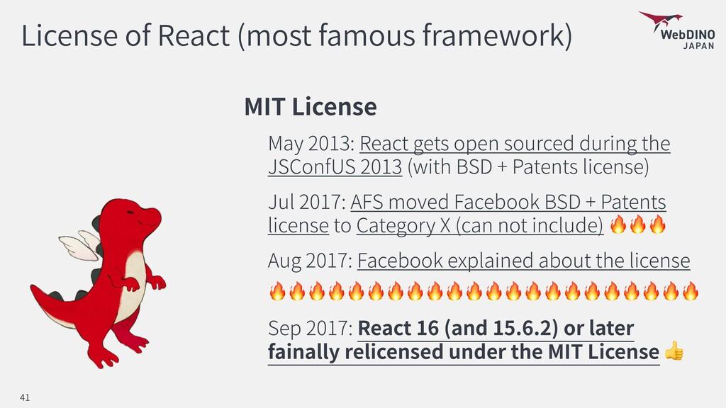 License of React (most famous framework) MIT Li...