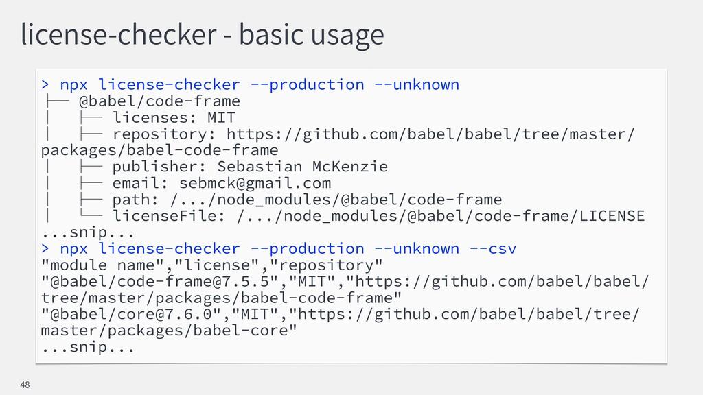 license-checker - basic usage > npx license-che...