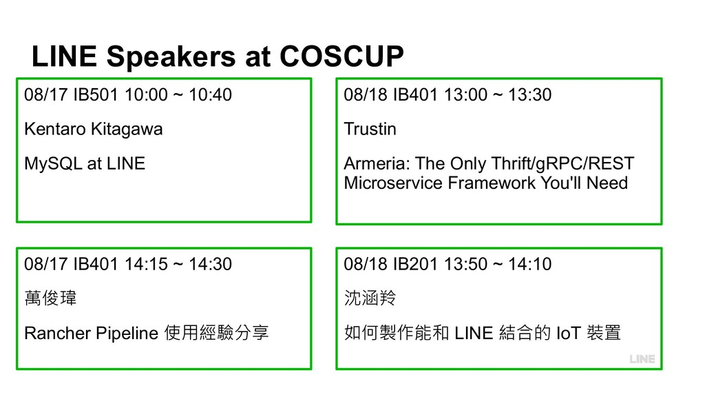 LINE Speakers at COSCUP 08/17 IB501 10:00 ~ 10:...