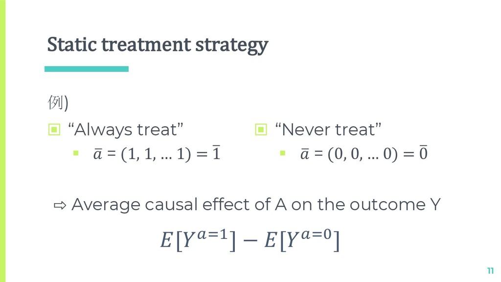 "Static treatment strategy 例) 11 [!""#] − [!""$] ⇨..."