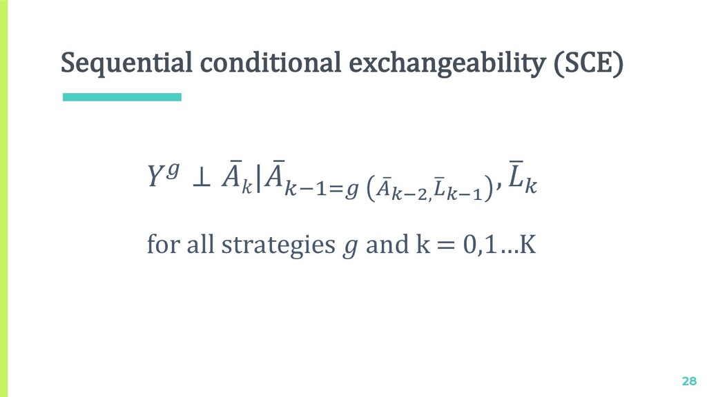 Sequential conditional exchangeability (SCE) 28...