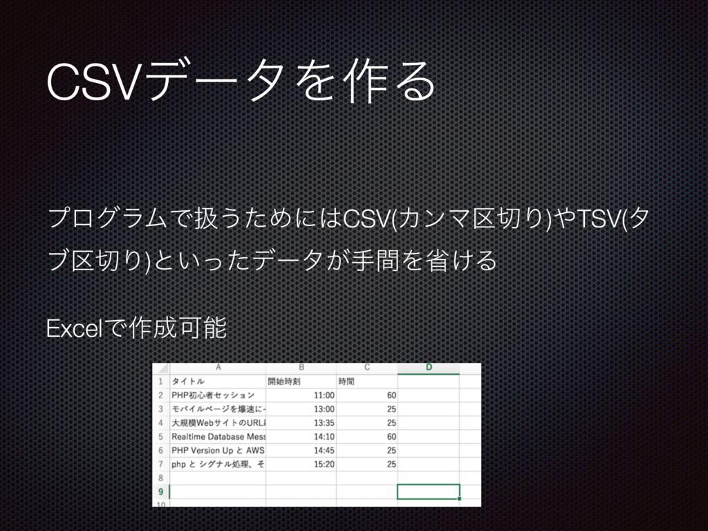 CSVσʔλΛ࡞Δ ϓϩάϥϜͰѻ͏ͨΊʹCSV(ΧϯϚ۠Γ)TSV(λ ϒ۠Γ)ͱ͍...