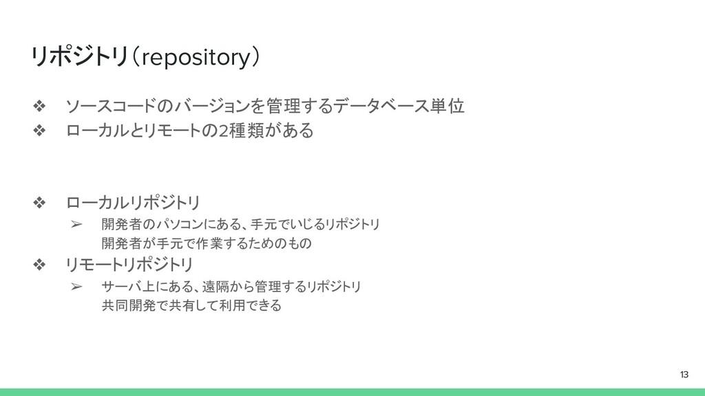 リポジトリ(repository) ❖ ソースコードのバージョンを管理するデータベース単位 ❖...
