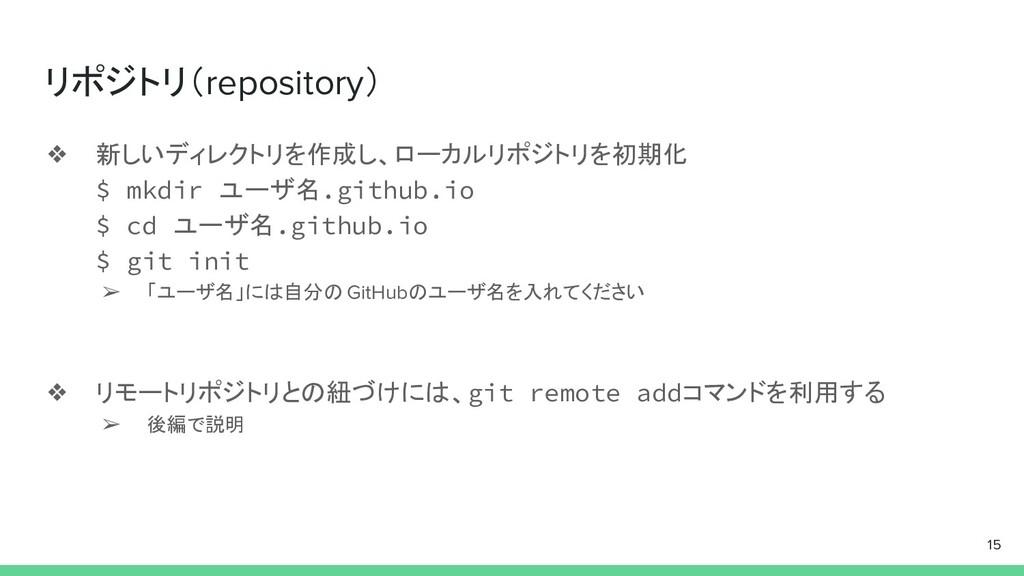 リポジトリ(repository) ❖ 新しいディレクトリを作成し、ローカルリポジトリを初期化...