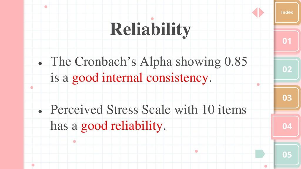 01 02 03 04 05 Index Reliability ● The Cronbach...