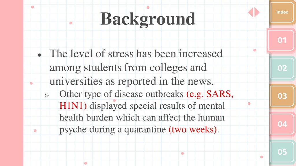 Background 01 02 03 04 05 Index ● The level of ...