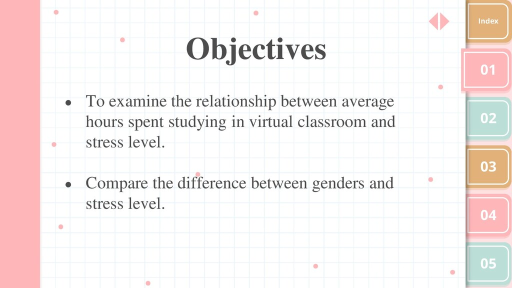 Objectives 01 02 03 04 05 Index ● To examine th...