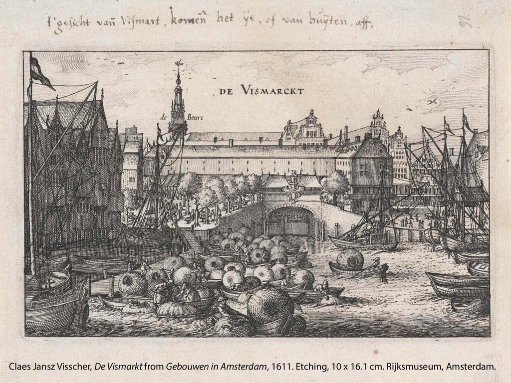 Claes Jansz Visscher, De Vismarkt from Gebouwen...