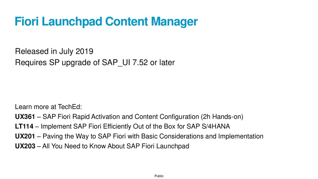 Public Fiori Launchpad Content Manager Released...