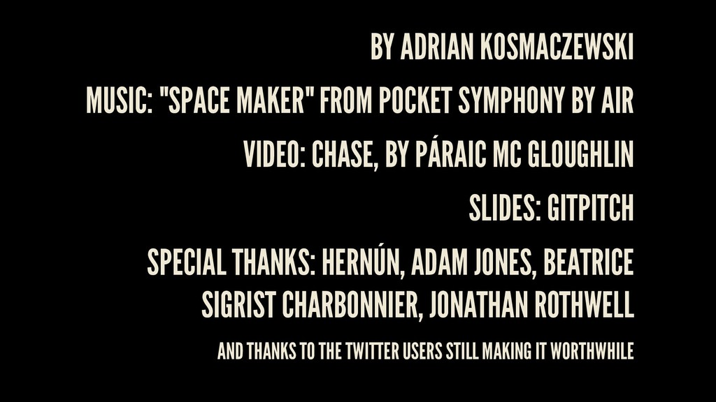 "BY MUSIC: ""SPACE MAKER"" FROM POCKET SYMPHONY BY..."