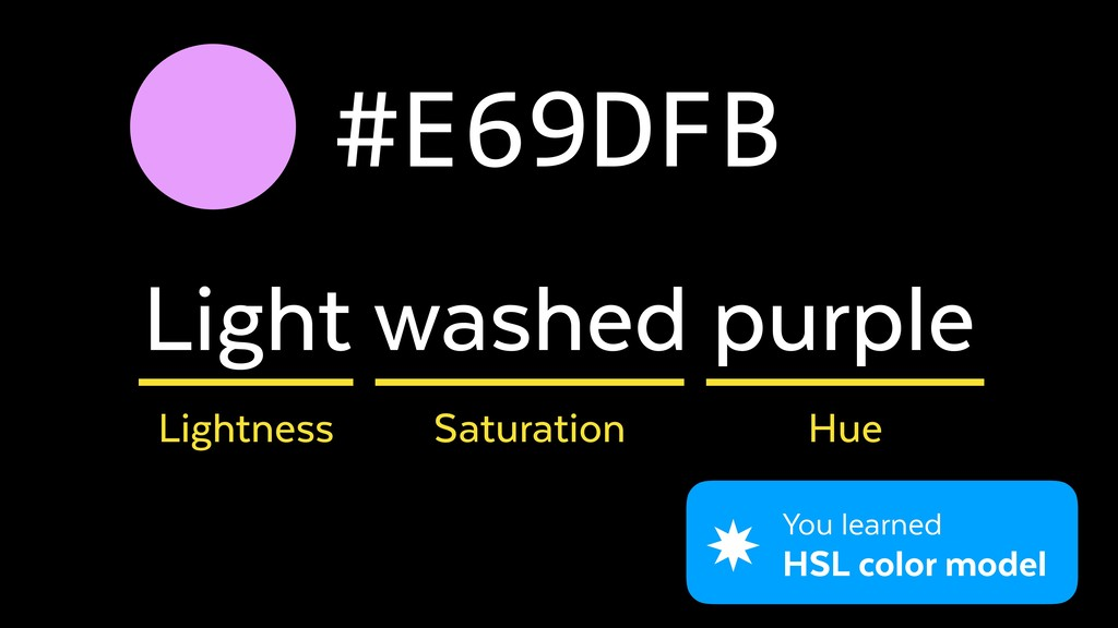 #E69DFB Light washed purple Lightness Saturatio...