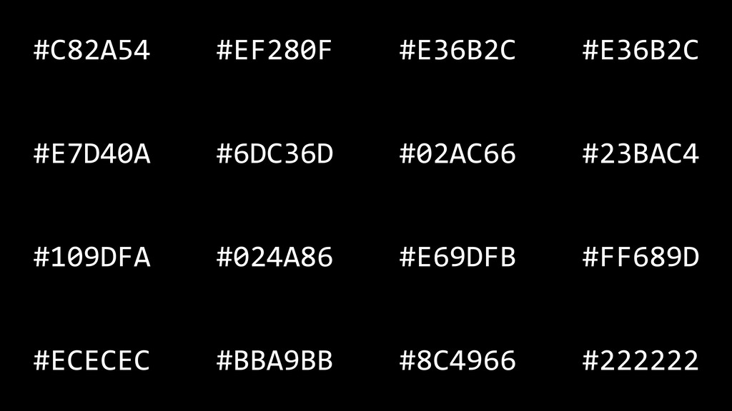 #C82A54 #EF280F #E36B2C #E36B2C #E7D40A #6DC36D...