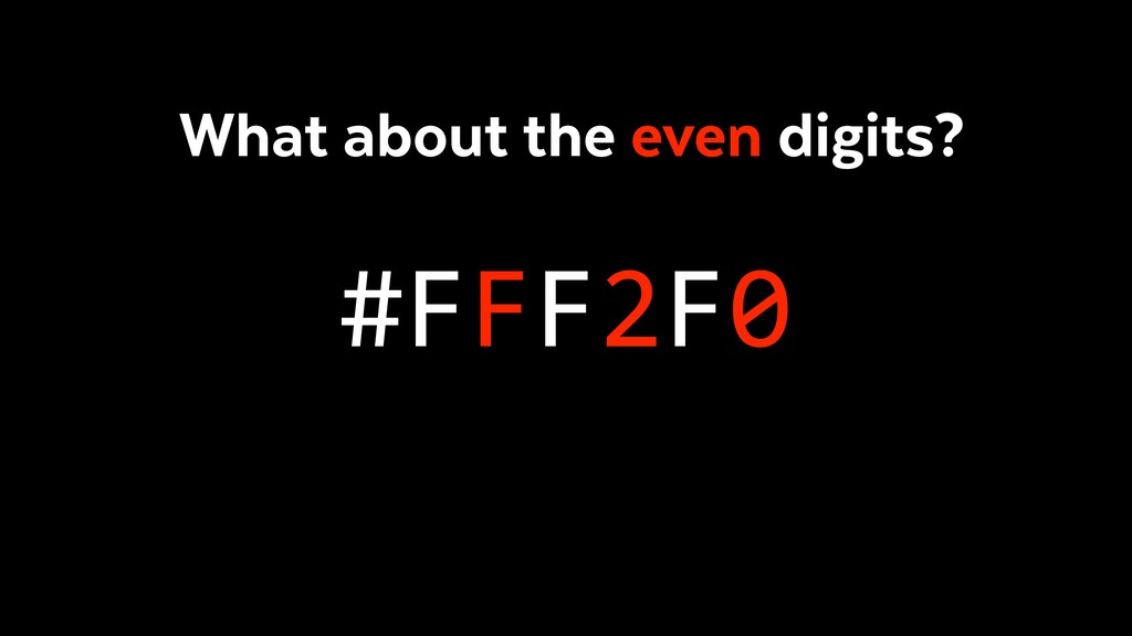 #FFF2F0 What about the even digits?