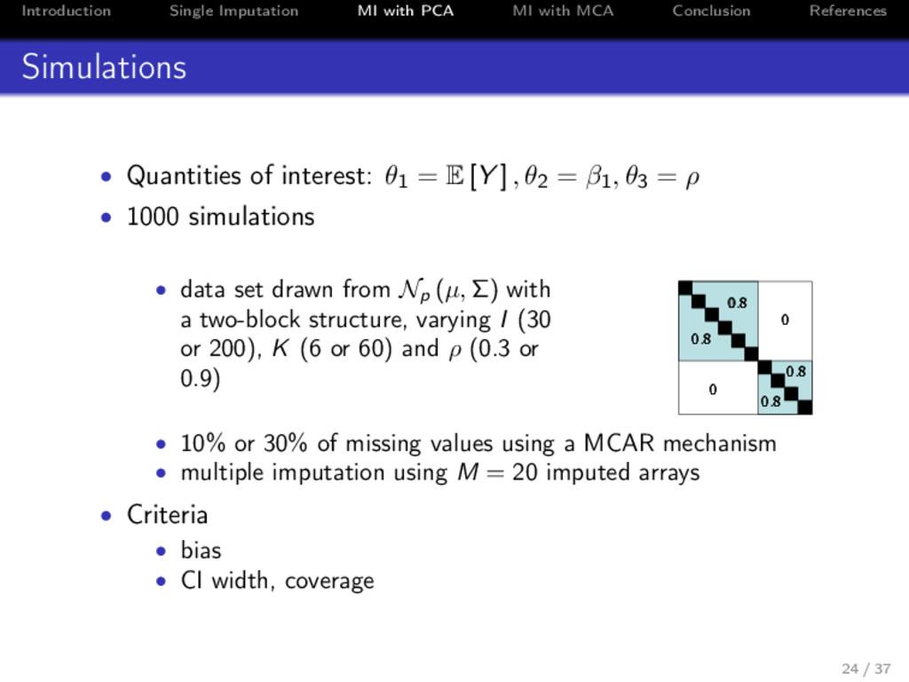 Introduction Single Imputation MI with PCA MI w...