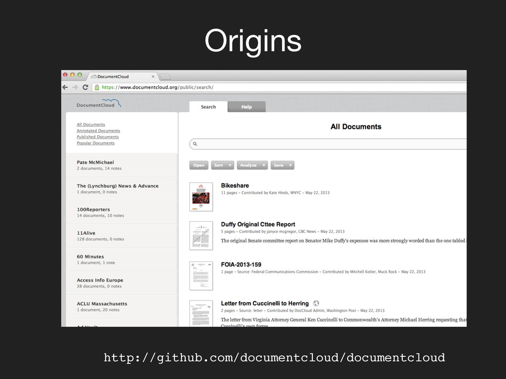 Origins http://github.com/documentcloud/docume...