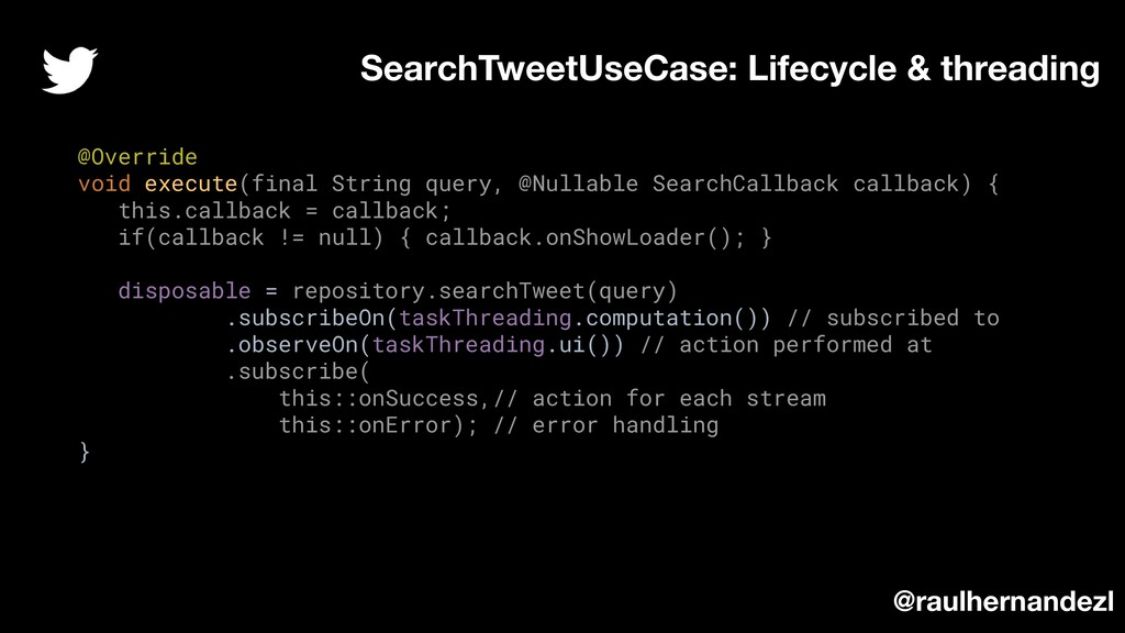 @Override void execute(final String query, @Nul...