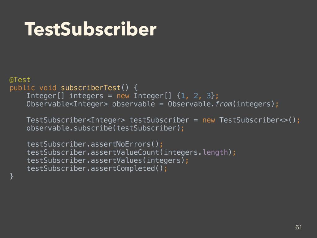 TestSubscriber @Test public void subscriberTes...