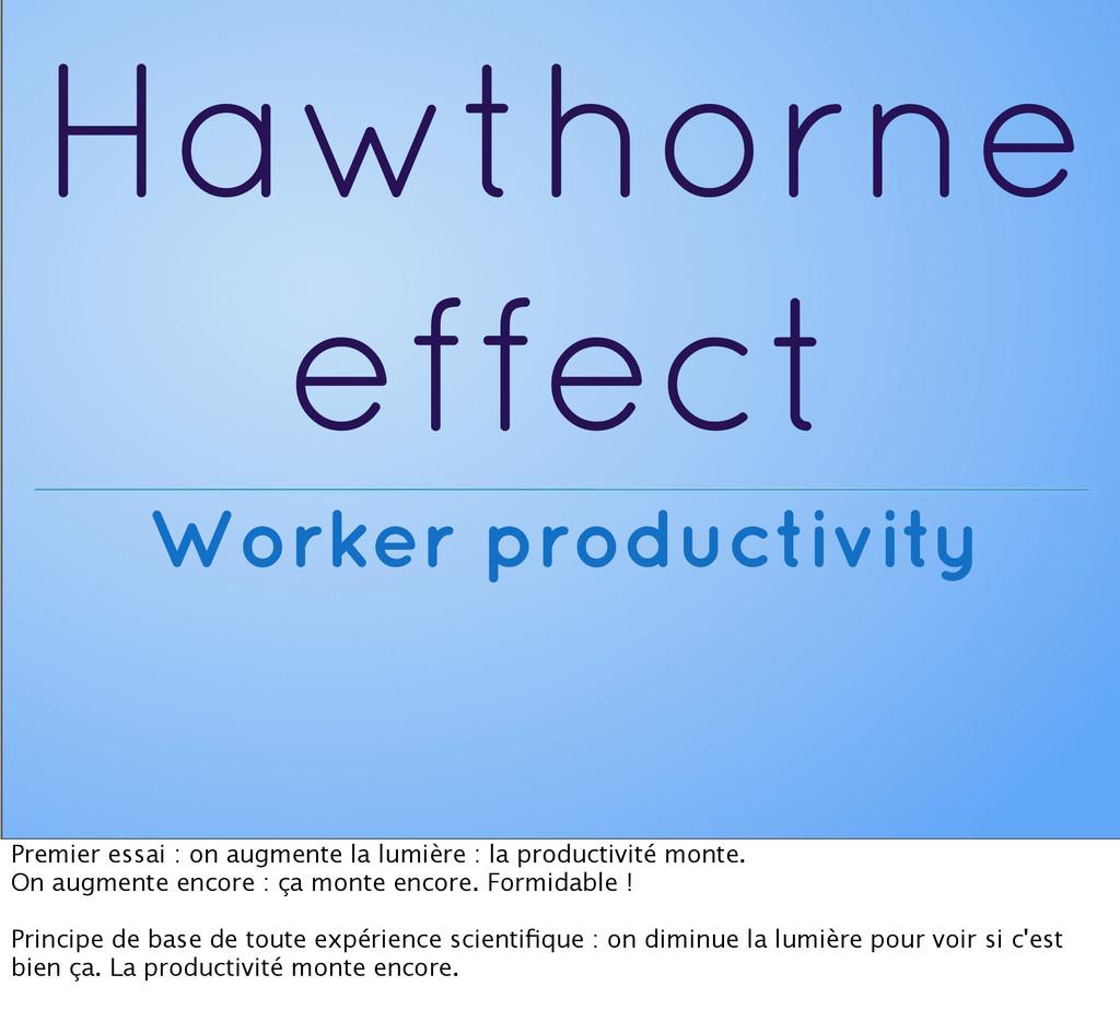 Hawthorne effect Worker productivity Premier es...