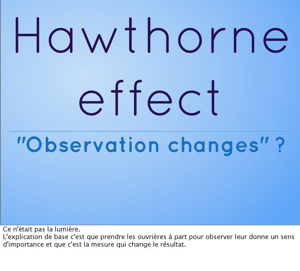 """Hawthorne effect """"Observation changes"""" ? Ce n'é..."""