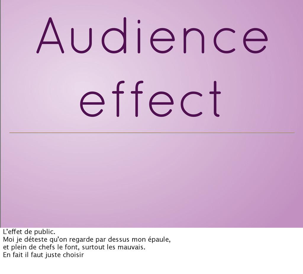 Audience effect L'effet de public. Moi je détes...