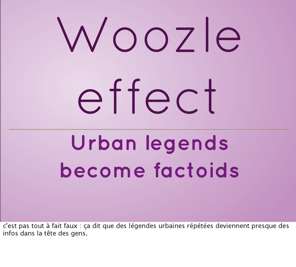 Urban legends become factoids Woozle effect c'e...