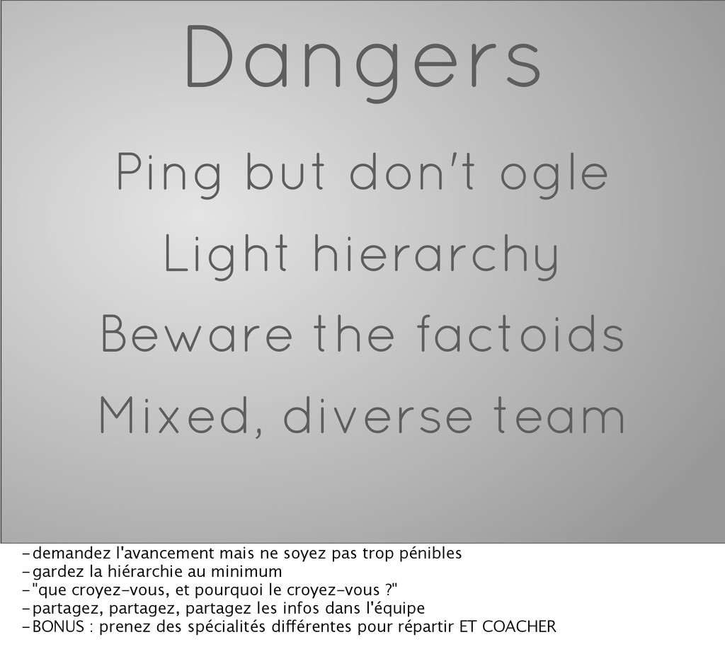 Dangers Ping but don't ogle Light hierarchy Bew...