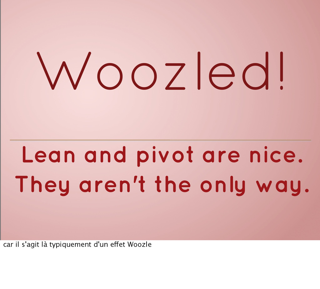 Woozled! Lean and pivot are nice. They aren't t...