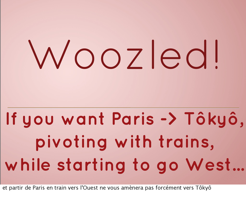 Woozled! If you want Paris -> Tôkyô, pivoting w...