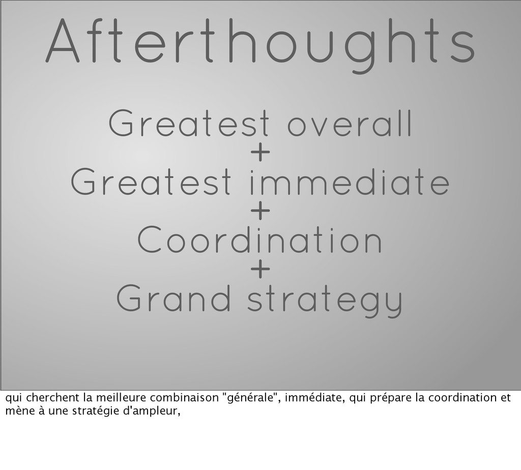 Afterthoughts Greatest overall + Greatest immed...