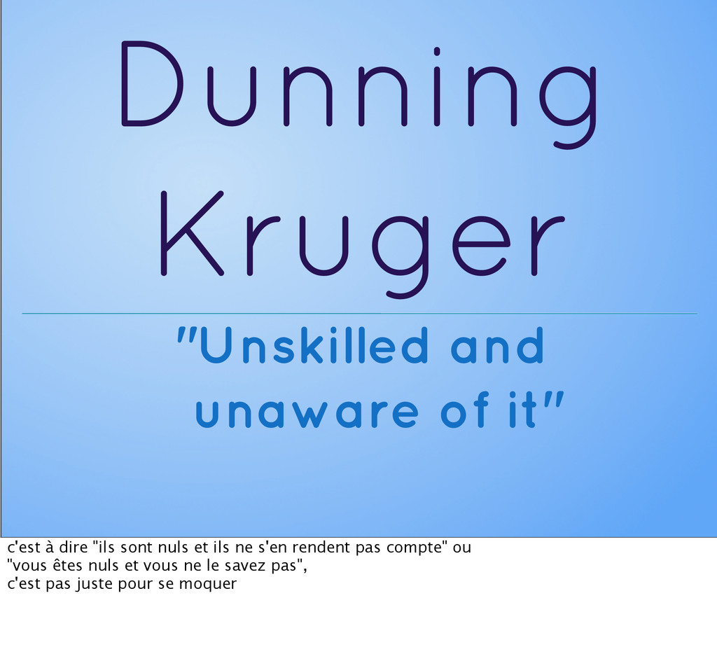 "Dunning Kruger ""Unskilled and unaware of it"" c'..."