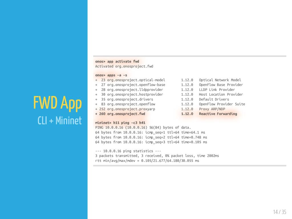14 / 35 FWD App CLI + Mininet onos> app activat...