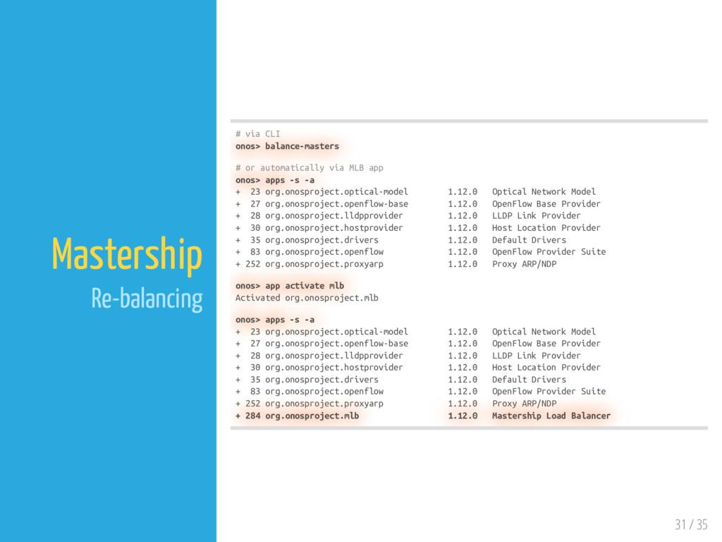 31 / 35 Mastership Re-balancing # via CLI onos>...