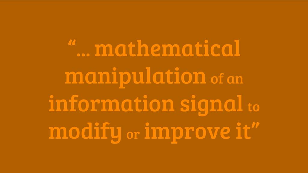 """... mathematical manipulation of an informatio..."
