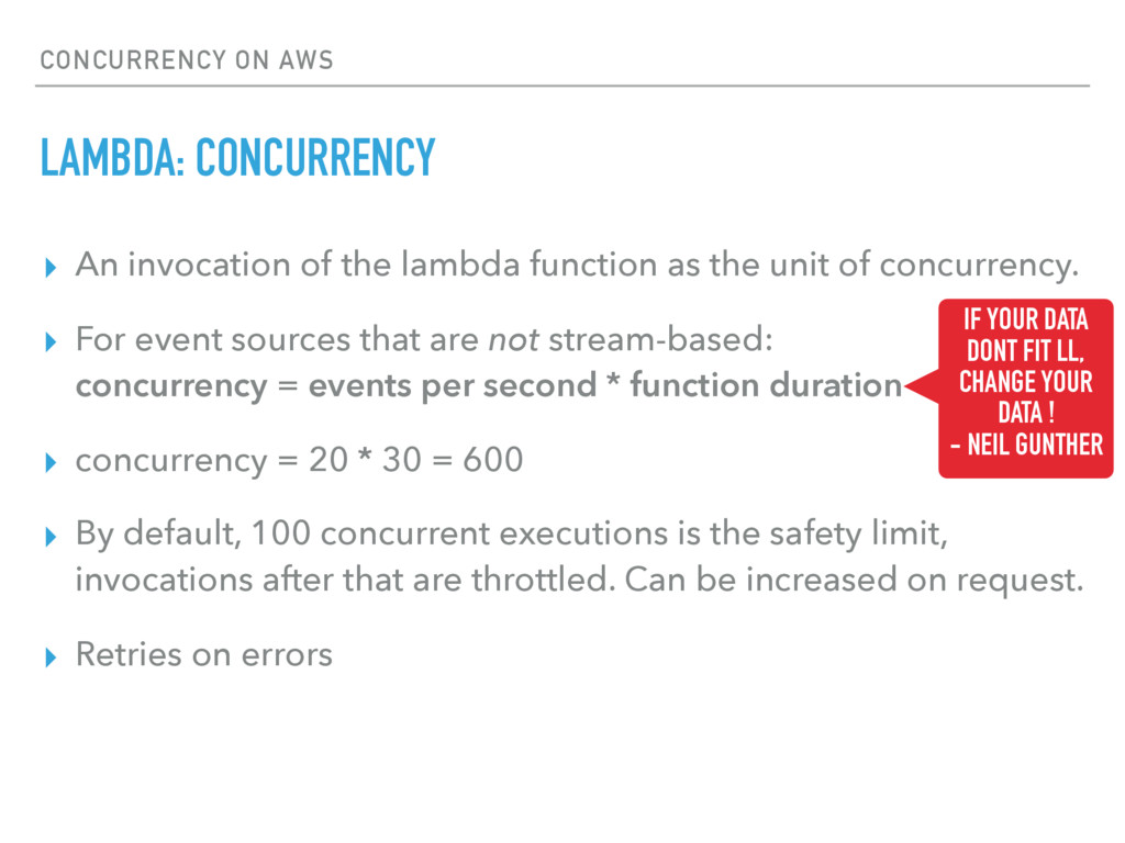 CONCURRENCY ON AWS LAMBDA: CONCURRENCY ▸ An inv...