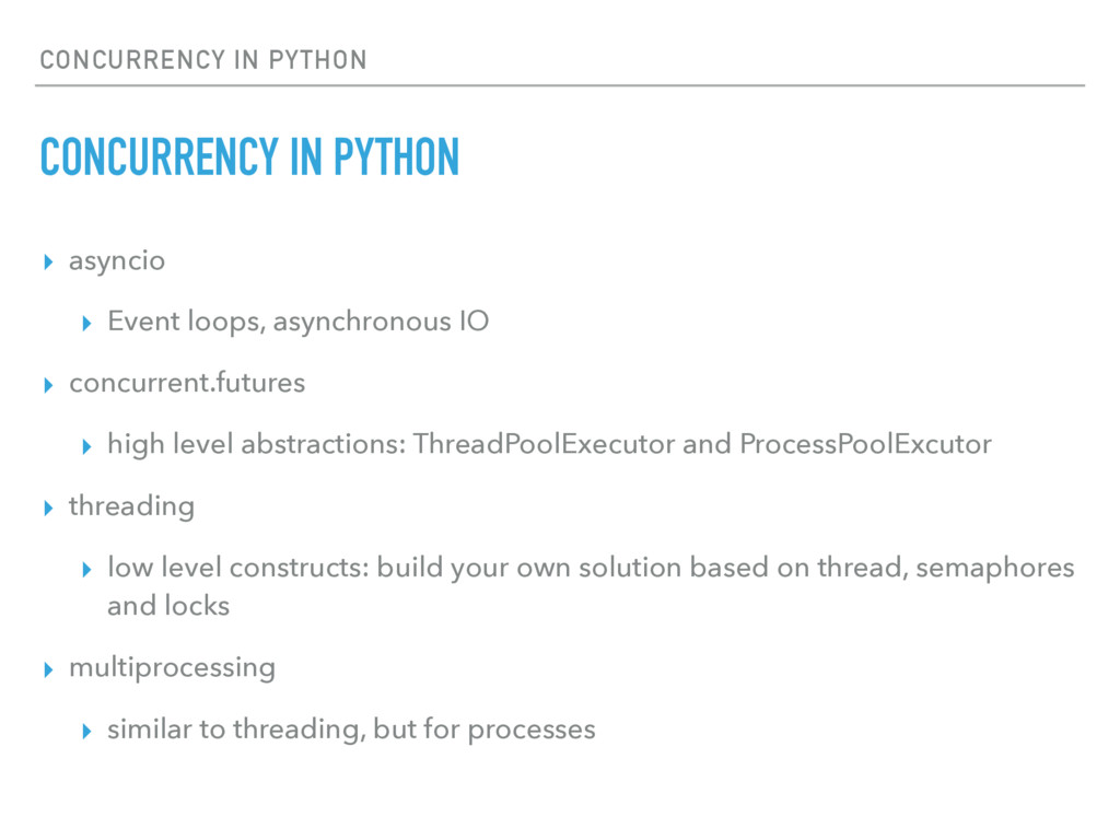 CONCURRENCY IN PYTHON CONCURRENCY IN PYTHON ▸ a...