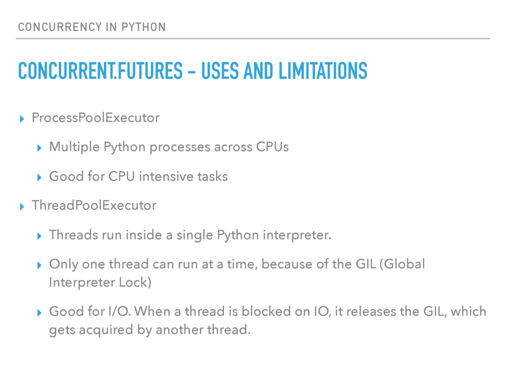 CONCURRENCY IN PYTHON CONCURRENT.FUTURES - USES...