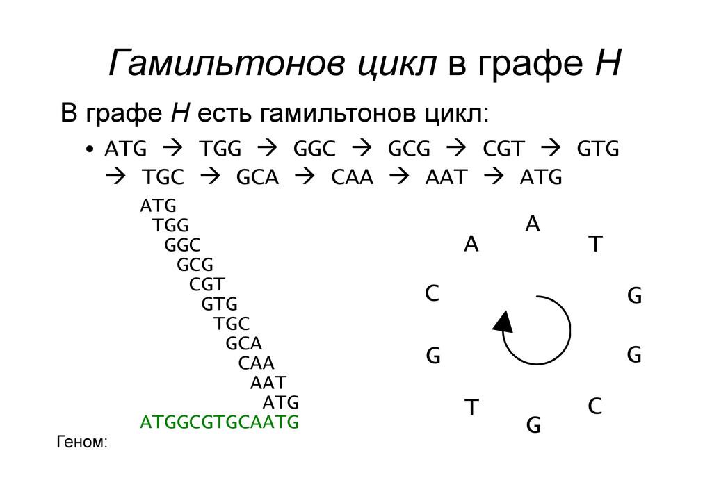 Гамильтонов цикл в графе H В графе H есть гамил...