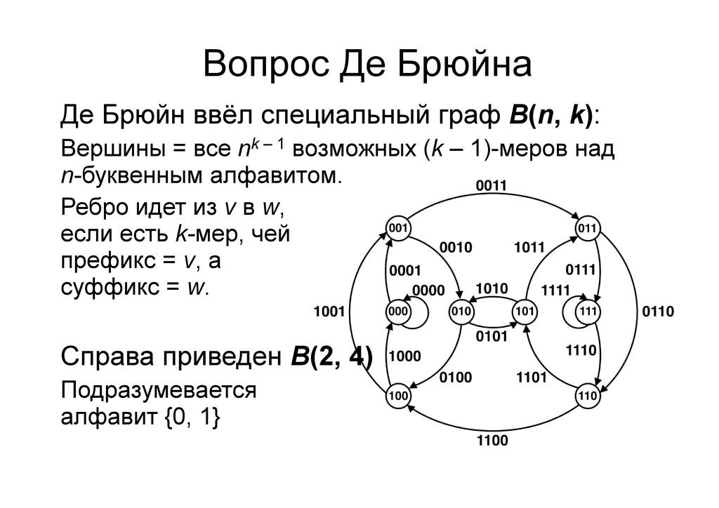 Вопрос Де Брюйна Де Брюйн ввёл специальный граф...