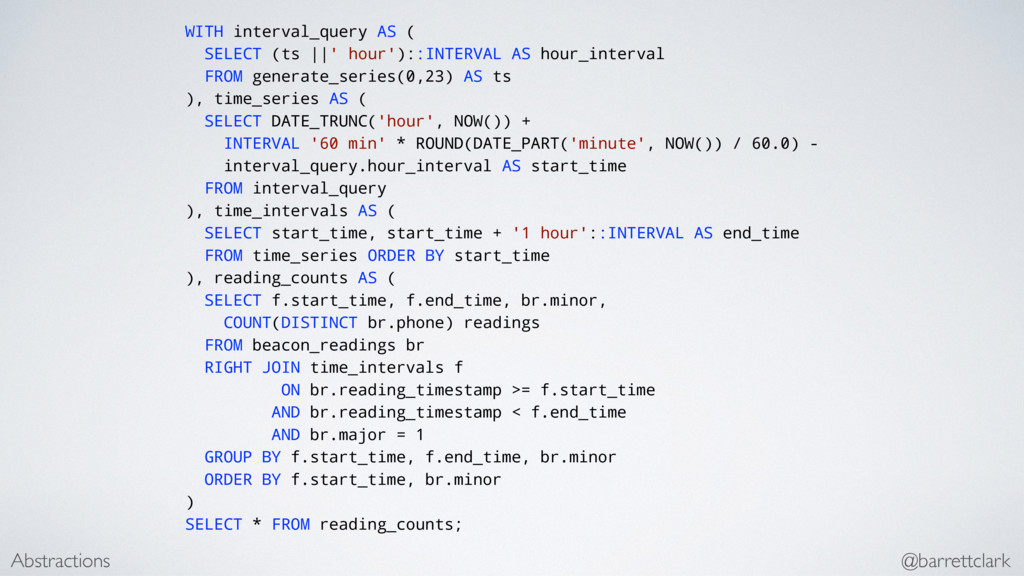 WITH interval_query AS ( SELECT (ts ||' hour'):...