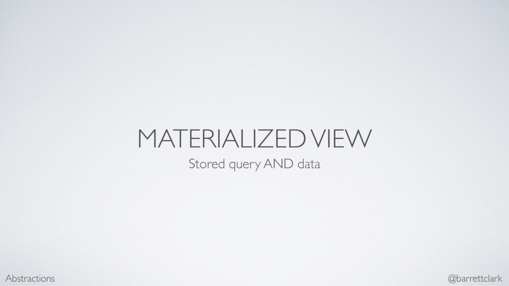 MATERIALIZED VIEW Stored query AND data Abstrac...