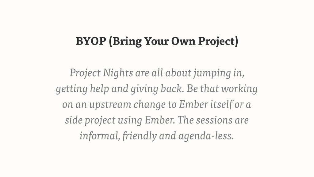 BYOP (Bring Your Own Project) Project Nights ar...