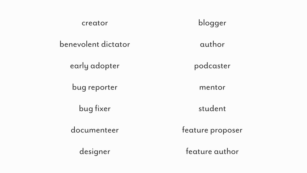 creator benevolent dictator early adopter bug r...