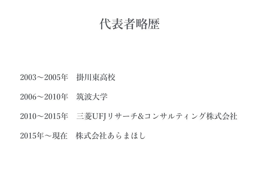 2003〜2005年掛川東⾼校 2006〜2010年筑波⼤学 2010〜2015年三菱U...