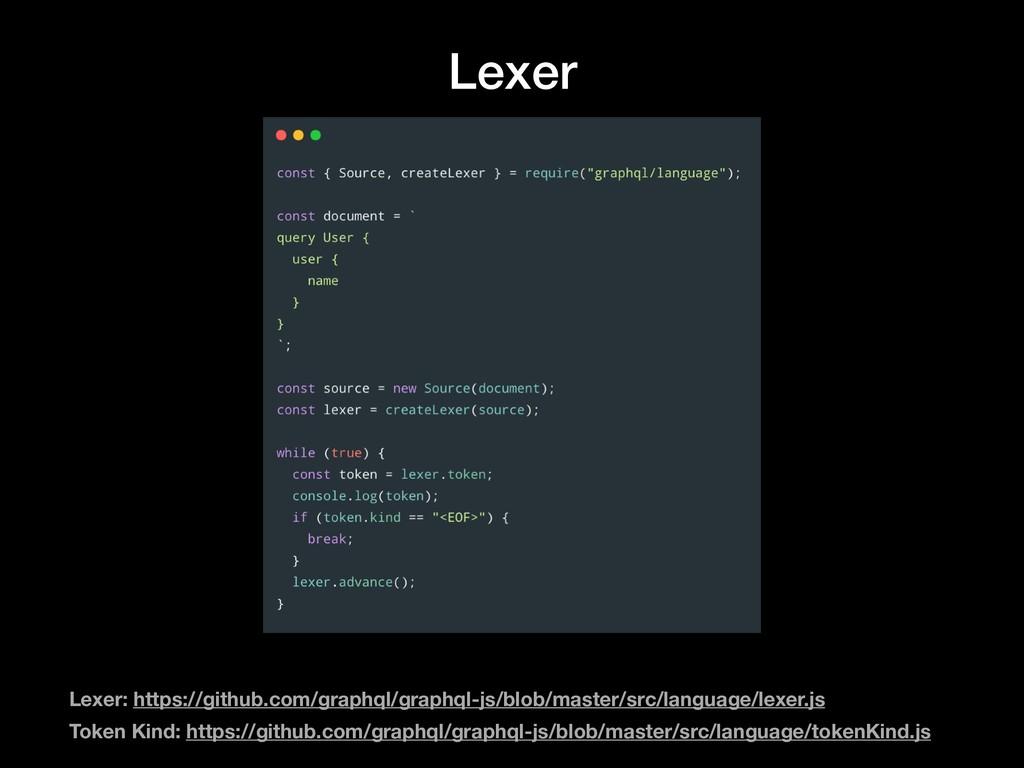 Lexer Lexer: https://github.com/graphql/graphql...