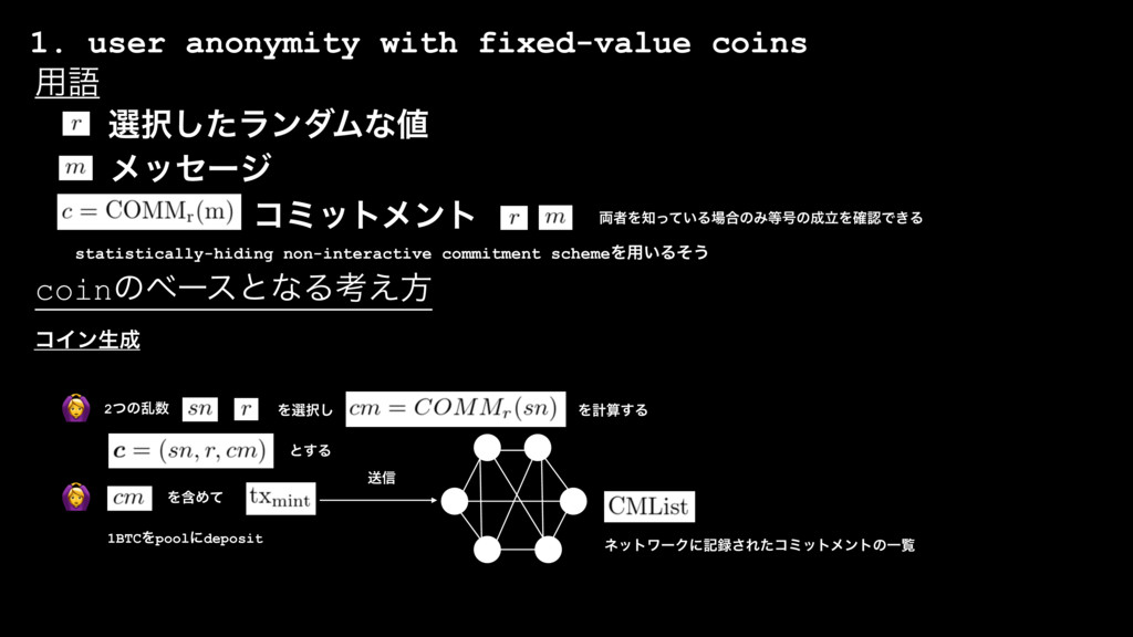 1. user anonymity with fixed-value coins  બ୒ͨ͠ϥ...