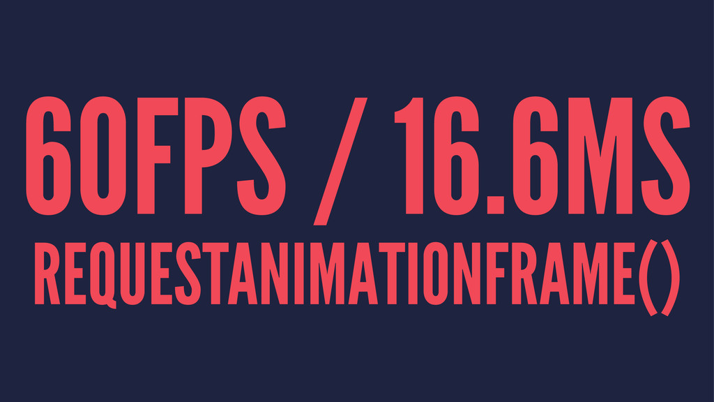 60FPS / 16.6MS REQUESTANIMATIONFRAME()
