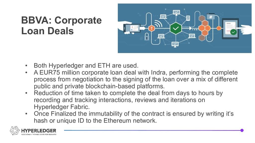 BBVA: Corporate Loan Deals • Both Hyperledger a...