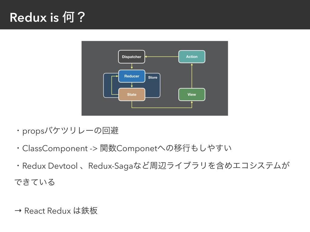 Redux is Կʁ ɾpropsόέπϦϨʔͷճආ ɾClassComponent -> ...