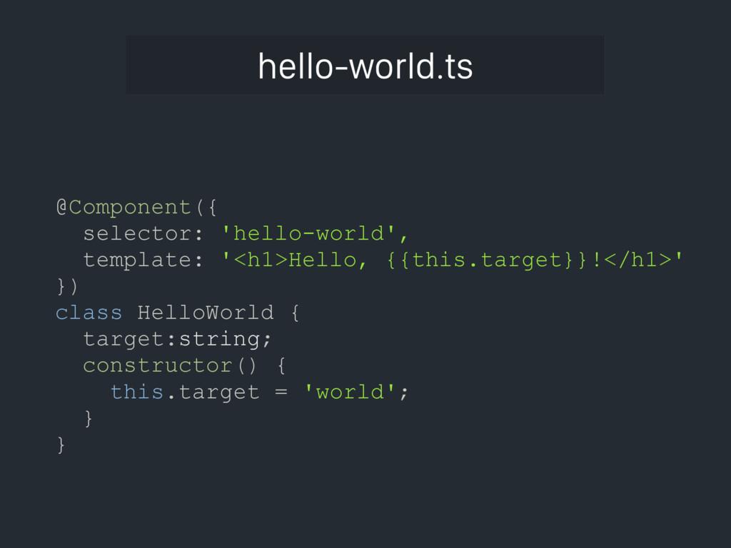 hello-world.ts @Component({ selector: 'hello-wo...