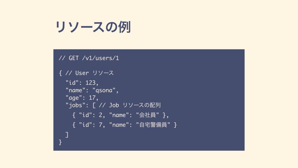 "Ϧιʔεͷྫ // GET /v1/users/1 { // User Ϧιʔε ""id"": ..."